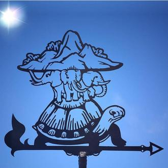 "Флюгер на крышу дома ""Черепаха, Плоская земля на слонах"" с металла 2 мм"