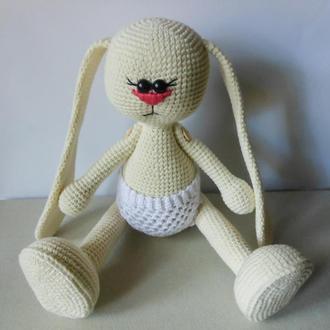 вязаная игрушка зайка в стиле тильда ручной работы купить в