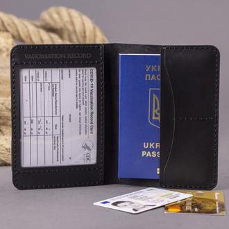 Кожаная обложка для паспорта, для пропуска, вакцинации, документов, ID карты, прав