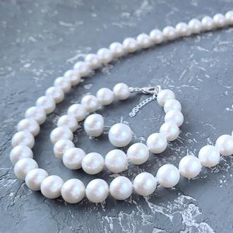 Класичний комплект  з натуральних перлів у сріблі