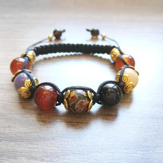 Необычный качественный браслет шамбала на затяжках с ассорти натуральных камней 16-17 см