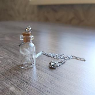Кулон бутылочка с одуванчиками на качественной стальной фурнитуре