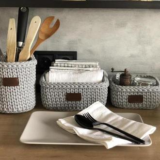 """Набор корзин для кухни или ванной,коллекция «Light Grey""""."""