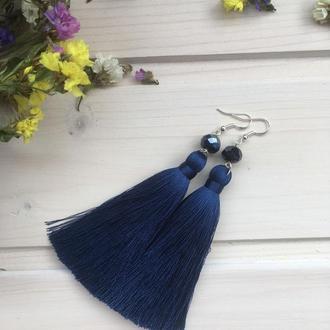 Шелковые серьги-кисти Темно-синие