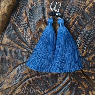 Шелковые серьги-кисти Синие