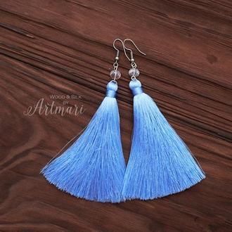 Шелковые серьги-кисти Голубые
