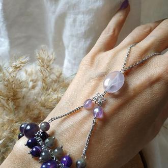 Слейв-браслет из аметиста и агата ′Вкус винограда′