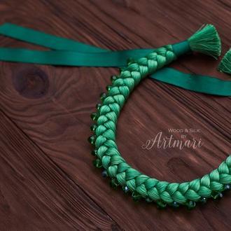 Колье-коса шелковое Зеленое