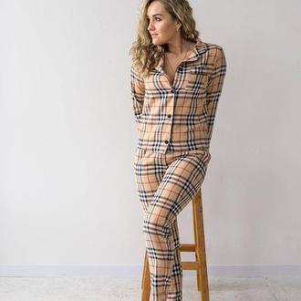 Коттоновая женская пижама рубашка + брюки