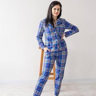 Женская пижама на пуговицах со штанами