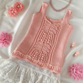 Светло розовый летний топ для девочки 4 - 6 лет ручной работы Под джинсовую куртку на осень