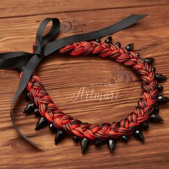 Колье-коса шелковое Красно-черное