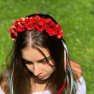 Обруч для волос с маками, венок в Украинском стиле с лентами