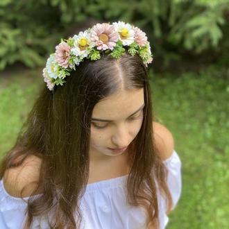 Обруч для волос в украинском стиле, венок с разноцветними лентами, венок под вишиванку