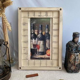 "Картина-панно из дерева ""Винтажное вино"" (2), декор для кухни"