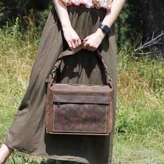 Коричнева сумка кожанач