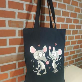 Эко сумка-шоппер. Влюбленные мышата.
