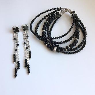 """Сребряный комплект браслет и серьги из чёрных камней оникс, агат,  шпинель """"Элегантность"""""""