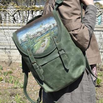 Большой зеленый кожаный рюкзак с росписью ручной работы