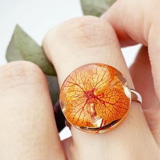 Кольцо с цветком гортензии Подарок девушке жене сестре маме (модель № 2808) Glassy Flowers