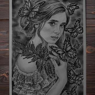 "Рисунок карандашом : ""Девушка с бабочками"""