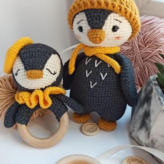 Набор для новорождённого. Игрушка и погремушка-грызунок пингвин