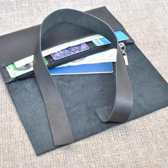 Стильный черный кошелек из натуральной кожи K20-0