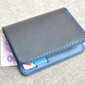Компактный вертикальный портмоне из натуральной кожи K50-0+660+blue