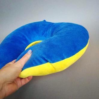 Патріотична подушка для подорожей, жовто-блакитна подушка, дорожная подушка