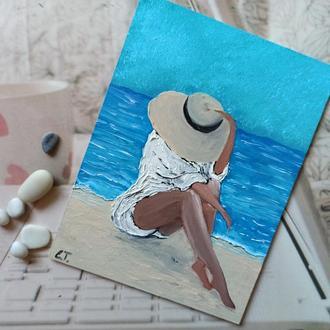 """""""Девушка на пляже"""" Картина маслом"""