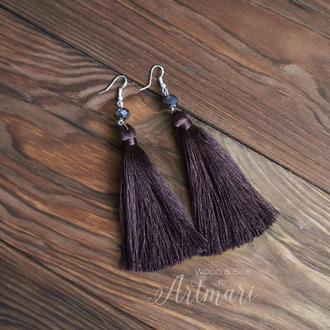Шелковые серьги-кисти коричневые