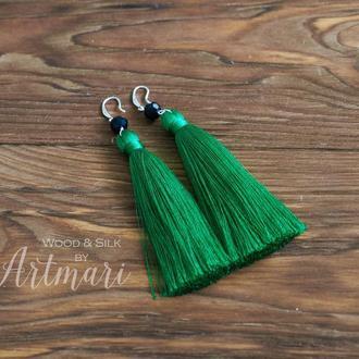 Шелковые серьги-кисти Темно зеленые