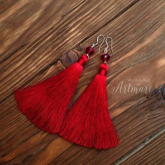 Шелковые серьги-кисти Красные