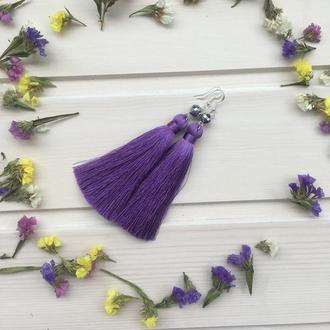 Шелковые серьги-кисти Светло фиолетовые