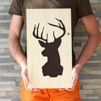 Картина силуэт оленя, дизайнерская работа, декор в дом