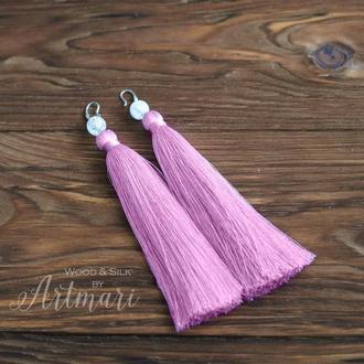 Шелковые серьги-кисти длинные Розовые