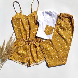 Женская пижама 4 в 1 в цветочек из хлопка