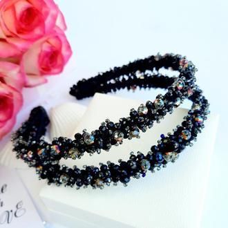 Черный двойной ободок из бусин и кристаллов. Ободок ручной работы. Блестящий обруч