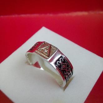 """Кольцо мужское """"Всевидящее око"""" серебро,золото,брильянт."""