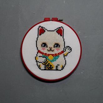 """Картина вишита хрестиком """"Кіт Манэки-неко"""" (Кіт щастя, Грошовий кіт, Кіт удачі)"""