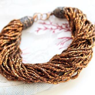многониточный браслет из бисера цвет коричневое золото