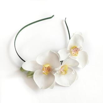 Ободок обруч вінок з орхідеями с орхидеями