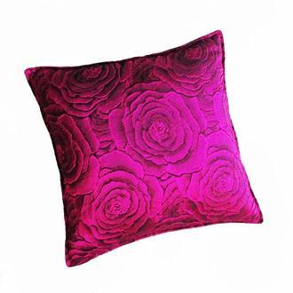 Диванна Подушка 3D жаккард троянди рожевий металік 35х35 холлофайбер подарунок