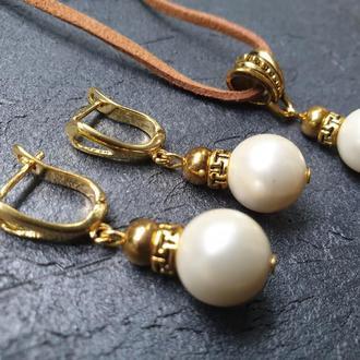 """Дизайнерський комплект з перлами майоріка в позолоті """" Еллада """"🏵🙏🌟"""