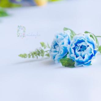 Серьги с голубыми пиончиками