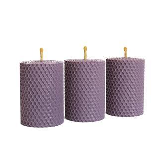 Набор из трех ЕКО свечей (8,5*6 см) лавандового цвета, в подарочной упаковке