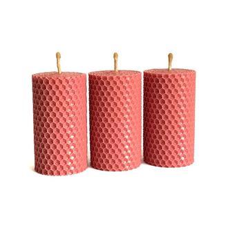 Набор подарочных эко свечей из вощины розового цвета 8.5×4.5 см, 3 шт