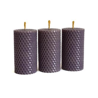 Набор эко свечей из вощины фиолетового цвета 8.5×4.5 см, 3 шт