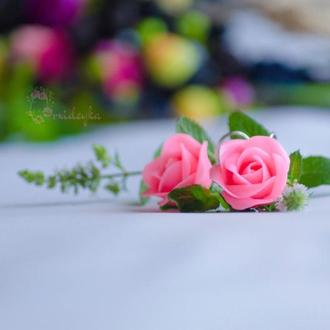 Серьги-розочки с полимерной глины. Серьги с розами. Серьги с розовыми розами. Ручная работа
