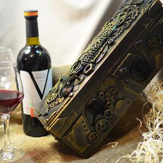 Короб для вина в стиле стимпанк